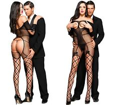 Ladies Sexy Open Cup Bodysuit Tights Catsuit Bodystocking Lingerie Fishnet BOW