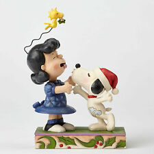 Enesco Jim Shore Peanuts Snoopy Kissing Lucy Mistletoe NIB Item #4052720