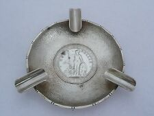 ANTIQUE RARE CHINESE EXPORT SIGNED SILVER DOLLAR ASHTRAY 58 GRAMS