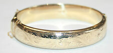 Traditional Engraved 9ct Gold 1/2 Engraved Hinged Bangle English Made 19 Grams