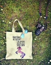 New Canvas Eco Hipster Tumblr UNICORNS ARE AWESOME Bag For Life Shopping Tote