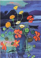 Kunstpostkarte / Postcard -  Gabriele Münter: Blumenstillleben vor Landschaft