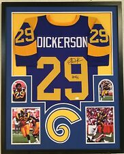 FRAMED ERIC DICKERSON AUTOGRAPHED SIGNED INSCRIBED L.A. RAMS JERSEY JSA COA