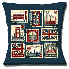 "LONDON BIG BEN RED BUS TELEPHONE BOX STAMPS MULTICOLOUR 16"" Pillow Cushion Cover"