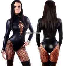 Womens Sexy PVC Faux Leather Wet Look Bodysuit Lace Up Teddy Lingeries G-string