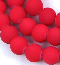 "8mm Matte Frosted Neon Rubberized Glass Round Beads  - Red 14"" (50pcs)"