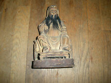 ANTIQUE  19TH CENTURY CHINESE HAND CARVED WOOD STATUE NICE INTERNATIONAL SALE