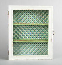Shabby Chic Vintage Glass Wall Display Cabinet Shelf Unit Cream Green Wooden