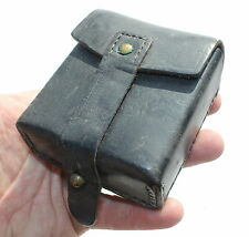VINTAGE ITALY ITALIAN ARMY BLACK LEATHER AMMO POUCH