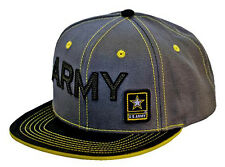 US ARMY *FELT LETTERED* Gray & Black *FLAT BILL* Twill HAT CAP *NEW w/TAGS* AR11