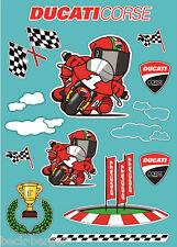 DUCATI Corse Cartoon Deko Aufkleber Sticker Kinder NEU !!