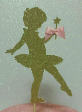 BALLERINA BIRTHDAY OR BABY SHOWER GOLD GLITTER CAKE TOPPER PINK GOLD 1ST