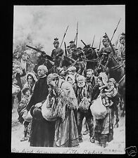 Glass Magic Lantern Slide BELGIUM VILLAGERS & GERMAN LANCERS EARLY WW1