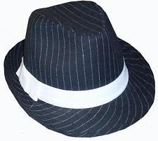 1920s Da Uomo Deluxe Gangster Trilby Cappello 20s Costume Blk/Bianca Nuova