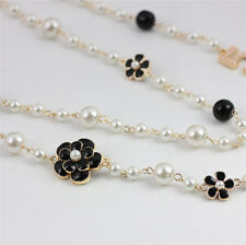 Designer Quality Gold Plated Long Pearl Flowers No. 5 Necklace - BEAUTIFUL $$$