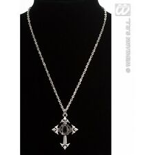 Gothic Cross Necklace with Black Gem Jewellery for Vampire Halloween Fancy Dress