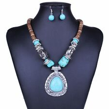 Tibet silver Wood Blue turquoise Teardrop Pendant Women Necklace earrings set