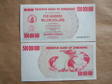 ZIMBABWE   2008,  500  MILLION   DOLLARS, 500,000,000  Unc.
