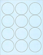 "6 SHEETS 2-1/2"" CIRCLE BLANK BLUE STICKERS 72 LABELS"