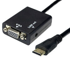 1080P Mini HDMI Male to VGA Female Video Converter Adapter HD Cable Audio Output