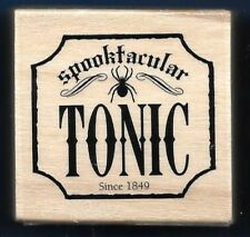 SPOOKTACULAR TONIC SPIDER BANNER Halloween Word NEW Craft Smart RUBBER STAMP