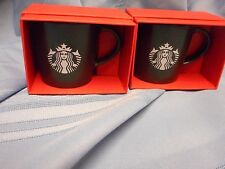 "NIB 2 STARBUCKS ESPRESSO COFFEE CUP MUG MINI 3 FL OZ MERMAID BLACK 2.5"" TALL"