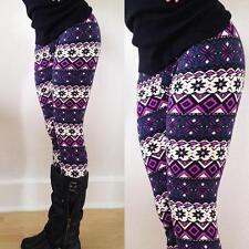 Women Xmas Snowflake Reindeer Knitted Leggings Skinny Pencil Pants Trousers US