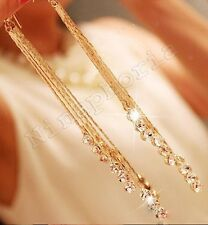 GOLD SPARKLE MULTI STRAND LONG Tassel Dangle Crystal RHINESTONE DROP EARRINGS