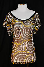 CHIC Brown / White Circle Print Sheer Stretchy Mesh Blouse Shirt Top Tunic L
