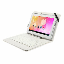 "PU Leather USB Folios Keyboard Case Stand Cover Skin For 10"" 10.1"" Tablet PC"