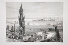 la pointe du sérail ou Sarayburnu Istambul gravure acier par Rouargue 1850 env.