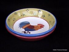 Seymour Mann Carnaby Collection 2 Soup Salad Pasta Bowls Rooster Chicken Farm