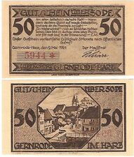 Germany 50 Pfennig 1921 Notgeld Gernrode AU-UNC Banknote - Non Colour Version
