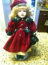 Victorian Star 1999 Collection Brass Key Doll red dress beret stand porcelain