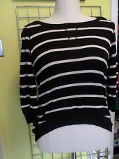 black crew neck shirt white stripes Pink Rose label size L midriff longer back