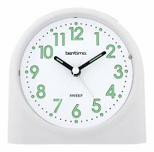 Bentima White Sweeper One Non-Tick Alarm Clock Silent By Acctim 14702