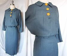 Vintage Antique 30s 40s WWII era Slate Blue Blouse Deco Button Dress M Hourglass