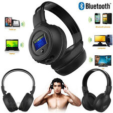 3.0 Stereo Bluetooth Wireless Headset Adstjuable Headphones With Call Mic Black