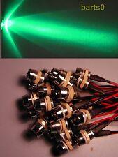 10 STÜCK 10mm Grün Grüne LEDs LED 33.000mcd Chromfassung 12-15Volt LEDSCHRAUBE