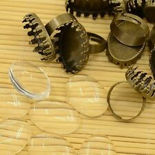 10Set Brass Pad Ring Making with Oval Tray Clear Glass Cabochons bronze color