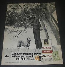 Magazine Print Ad 1971 CIGARETTE Old Gold Get Away from the crowd Man dog tree.