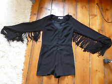 KATE MOSS BLACK FRINGED PLAYSUIT 10 TOPSHOP