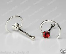 Tiny Silver Spiral One (1) Nose Stud Ring Bone Sterling With Red Gem 20 Gauge