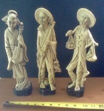 3 Vintage Resin Like Japanese Asian Figurines Statues Made In Hong Kong