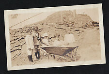 Antique Photograph Adorable Children in Great Outfits Pushing Wheel Barrow