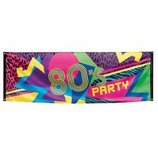 7ft Retro 80s Party Poster Disco Fabric Banner Flag Leopard Print Decoration UK