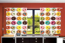 "55"" x 39""  Colorful Donuts Kitchen Panels Set Sprinkled Yummy Donuts Curtains"