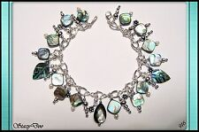 ** GENUINE ABALONE, PEARL STERLING SILVER CHARM ANKLET (916)