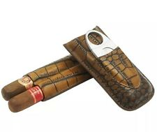COHIBA Brown Leather Croco 2 Tube Travel Cigar Holder Case Humidor With Cutter