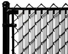 Chain Link Gray Double Wall Tube™ Privacy Slat For 8ft High Fence Bottom Lock